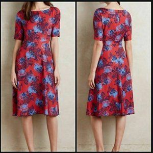 HD in Paris Theodora Red Floral Fit & Flare Dress
